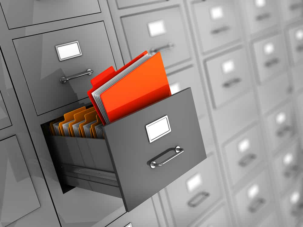 Filing cabinets with documents